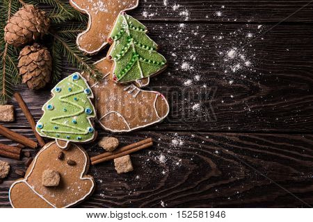 New year homemade gingerbreads with tea