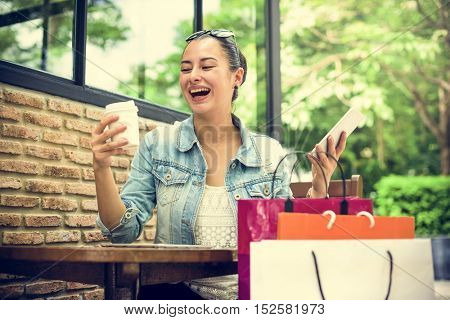 Woman Shopping Spending Customer Consumerism Concept