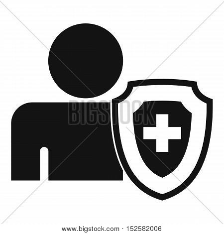 Person and medical cross protection shield icon. Simple illustration of Person and protection shield vector icon for web