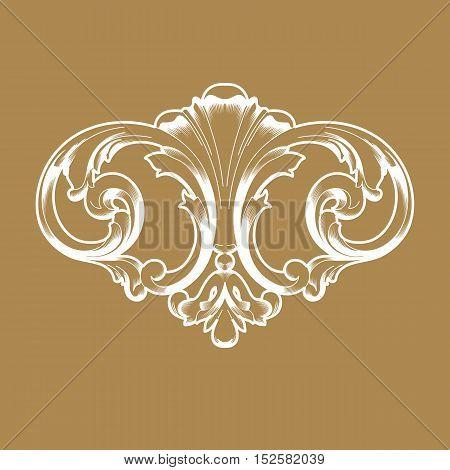Golden vintage ornamen, baroque ornament, scroll ornament ,engraving ornament, border ornament, floral ornament, retro ornament, pattern ornament, antique ornament, style acanthus ornament, foliage swirl ornament, decorative ornament.  vector