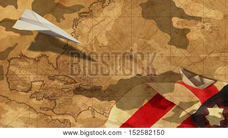 Veterans Day. Paper Airplane and Boat Flag MImetic Clouds and Usa Nautical Chart