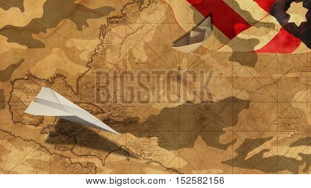 Veterans Day. Paper Airplane and Boat Usa Flag MImetic Clouds and America Nautical Chart