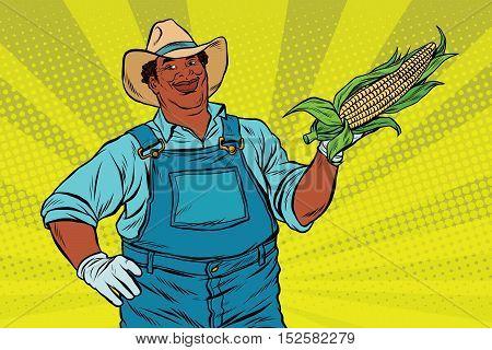 African American farmer with corn on the cob, pop art retro vector illustration
