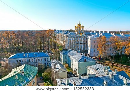 TSARSKOYE SELO, SAINT - PETERSBURG, RUSSIA - OCTOBER 19, 2016: Top view of the Catherine Palace with Church of the Resurrection. The Tsarskoye Selo is State Museum-Preserve outside Saint-Petersburg