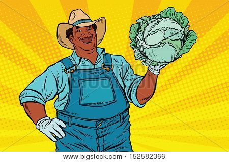 African American farmer with cabbage, pop art retro vector illustration
