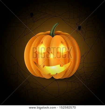 Scary Jack O Lantern halloween pumpkin with candle light inside on spider web background vector