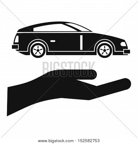Hand and car icon. Simple illustration of hand and car vector icon for web