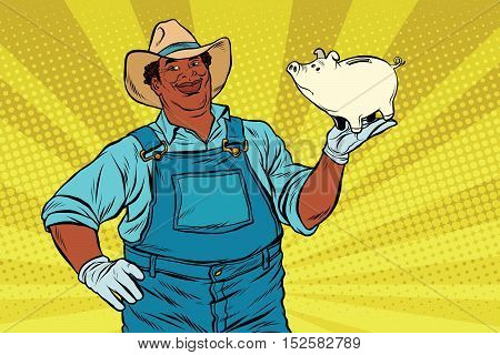 African American farmer with a pig-piggy Bank, pop art retro vector illustration