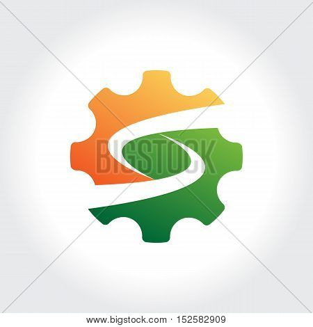 Gears with initial S symbol. Technology Business illustration
