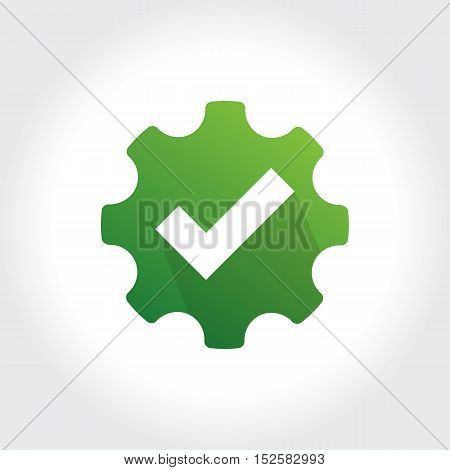 Gears with Check Mark symbol. Technology Business illustration