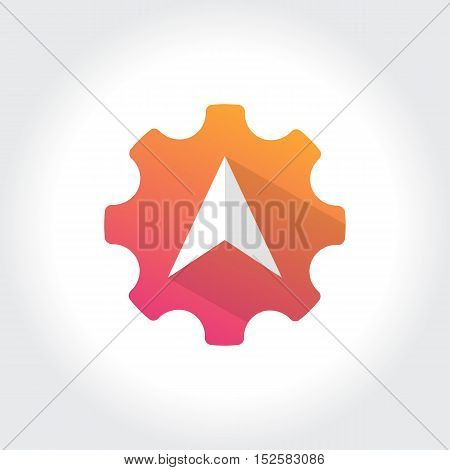 Gears with North Arrow symbol. Technology Business illustration