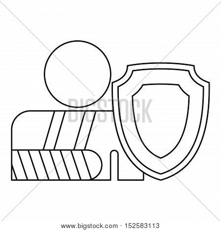 A man with a broken arm icon. Outline illustration of man with a broken hand arm icon for web
