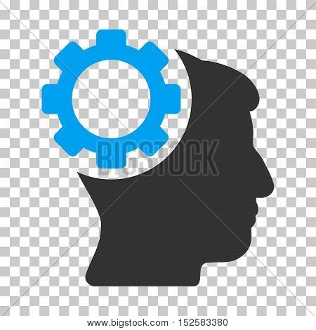 Blue And Gray Brain Gear toolbar pictogram. Vector pictogram style is a flat bicolor symbol on chess transparent background.