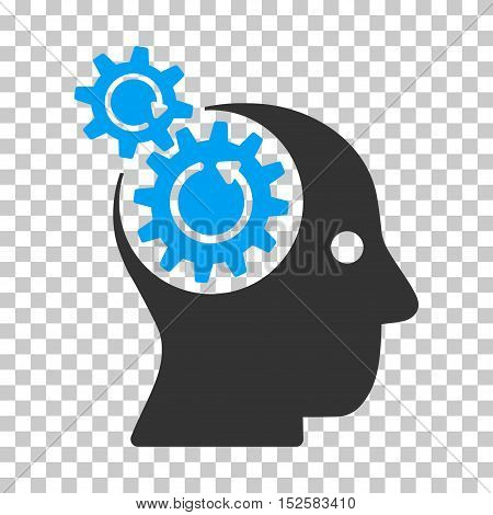 Blue And Gray Brain Gears Rotation toolbar pictogram. Vector pictogram style is a flat bicolor symbol on chess transparent background.