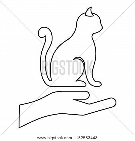Protecting cat icon. Outline illustration of protecting cat vector icon for web