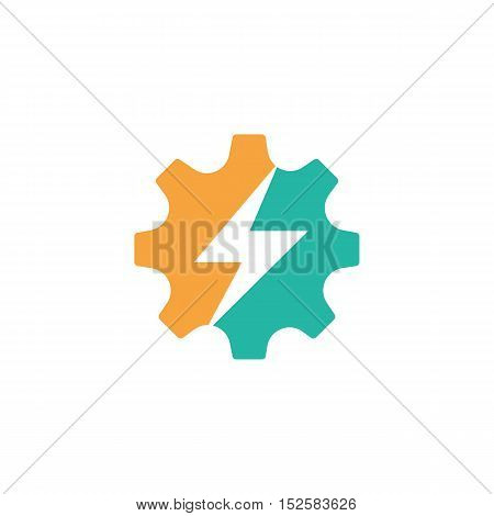 Gears with power symbol. Technology Business illustration