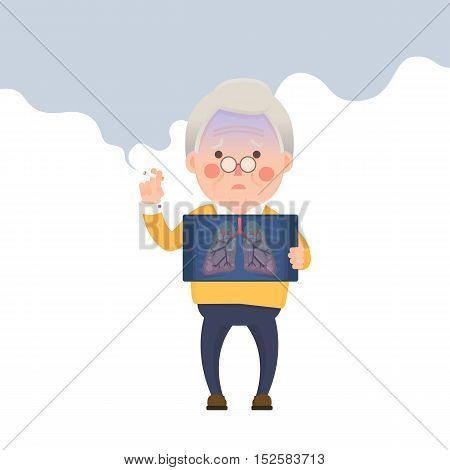Vector Illustration of Old Man Smoking Cigarette While Holding X-ray Image Showing Lung Pulmonary Emphysema Problem, Cartoon Character