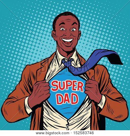 African American joyful super dad, pop art retro vector illustration
