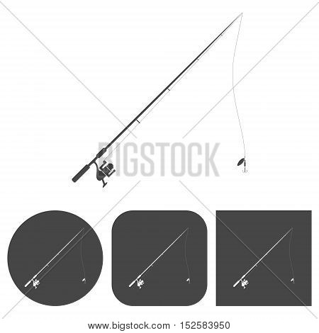 Fishing rod - vector icons set on white background