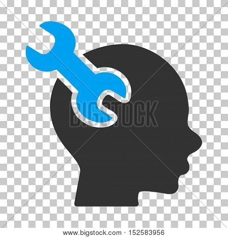 Blue And Gray Brain Service Wrench interface pictogram. Vector pictograph style is a flat bicolor symbol on chess transparent background.