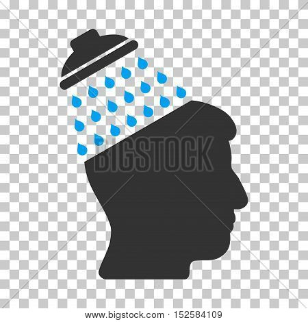 Blue And Gray Brain Shower toolbar pictogram. Vector pictograph style is a flat bicolor symbol on chess transparent background.