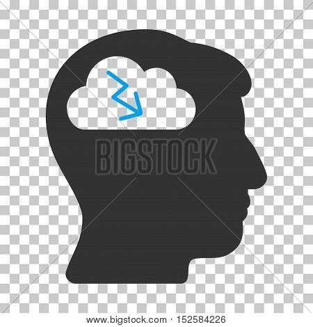 Blue And Gray Brainstorming interface icon. Vector pictogram style is a flat bicolor symbol on chess transparent background.