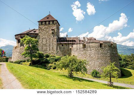 Vaduz, Liechtenstein - July 01, 2016: Landscape view on Vaduz castle in the capital of Liechtenstein. This castle is the palace and official residence of the Prince of Liechtenstein