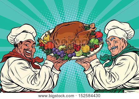 multi-ethnic chefs with roast Turkey, pop art retro vector illustration. Thanksgiving or Christmas dinner