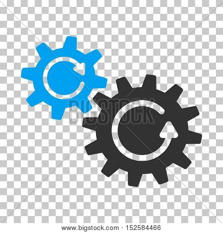 Blue And Gray Cogs Rotation interface toolbar pictogram. Vector pictograph style is a flat bicolor symbol on chess transparent background.