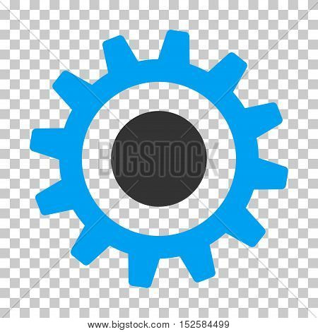 Blue And Gray Cogwheel interface toolbar icon. Vector pictogram style is a flat bicolor symbol on chess transparent background.