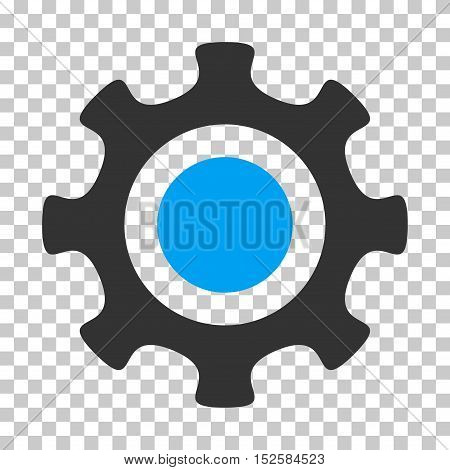 Blue And Gray Cogwheel toolbar pictogram. Vector pictograph style is a flat bicolor symbol on chess transparent background.