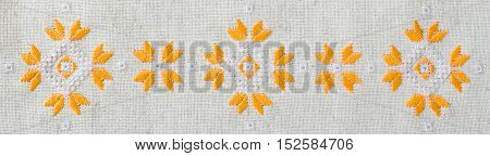 Design Embroidered Background For Banner. Ethnic Traditional Pattern.