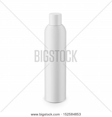 Round white glossy plastic cosmetic bottle with cap. Realistic packaging mockup template. Eye-level view. Vector illustration.