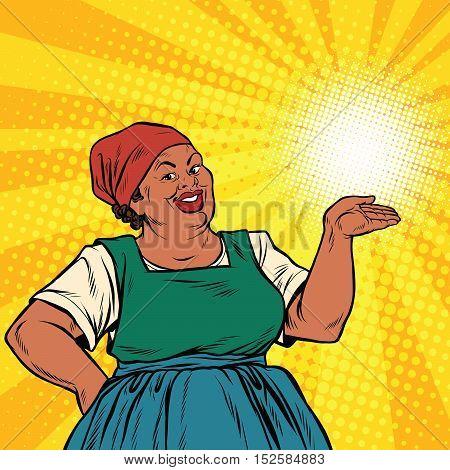 Retro woman African-American gesture promo, pop art retro vector illustration