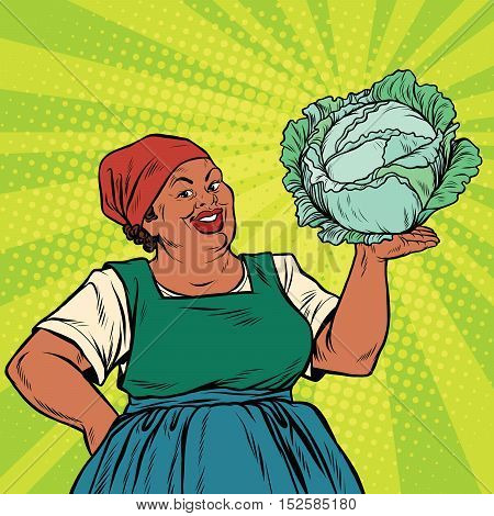 Retro old African-American woman with a head of cabbage, pop art retro vector illustration