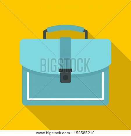 Blue business briefcase icon. Flat illustration of business briefcase vector icon for web isolated on yellow background