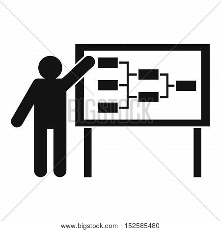 Businessman and presentation screen with scheme icon. Simple illustration of businessman and presentation screen vector icon for web