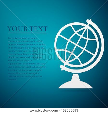 Geography earth globe flat icon on blue background. Vector Illustration