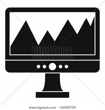Monitor and a chart icon. Simple illustration of monitor and a chart vector icon for web