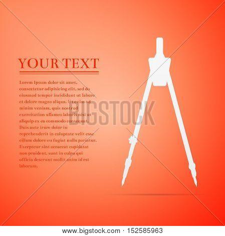 Compass flat icon on orange background. Vector Illustration