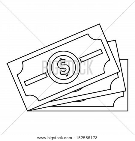 Dollar banknotes icon. Outline illustration of dollar banknotes vector icon for web