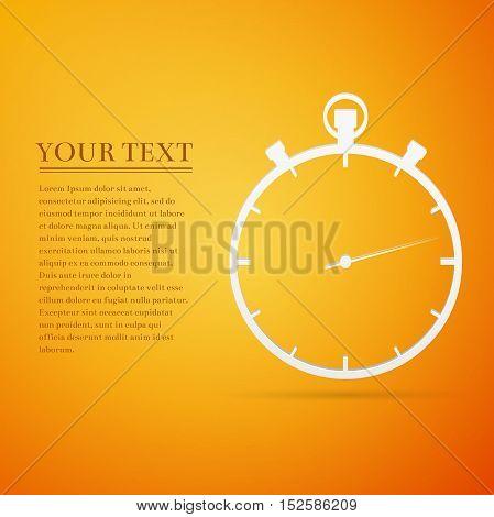 Timer flat icon on orange background. Vector Illustration