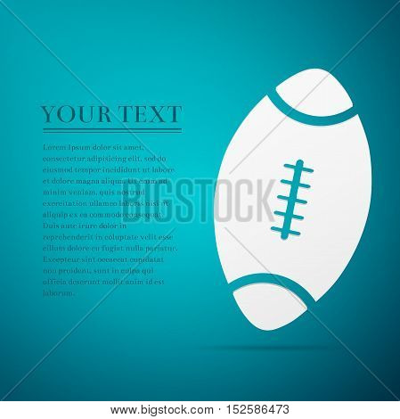 American Football ball flat icon on blue background. Vector Illustration