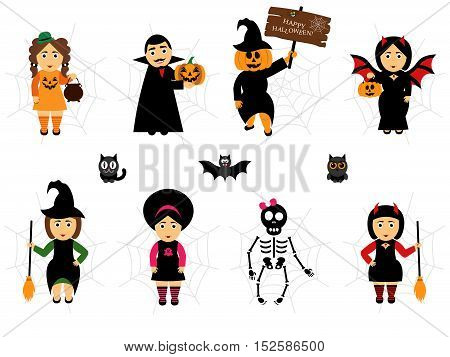 Vector set for Halloween in cartoon style. People in holiday costumes.Easy to edit an illustration of Halloween. Cute and creepy character .