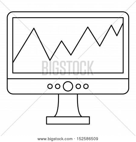 Graph on the computer monitor icon. Outline illustration of graph on the monitor vector icon for web