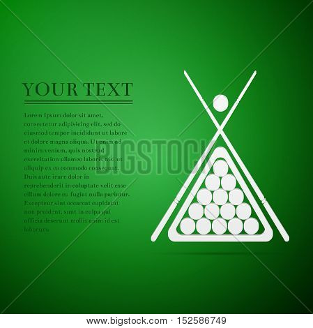 Billiard cue and balls flat icon on green background. Vector Illustration