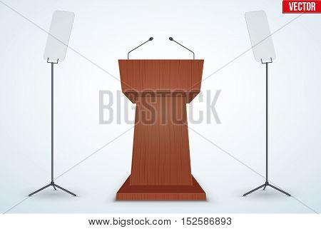 Wooden Podium Speaker Tribune with protect armored glass. Speech symbol. Vector Illustration Isolated on Background.