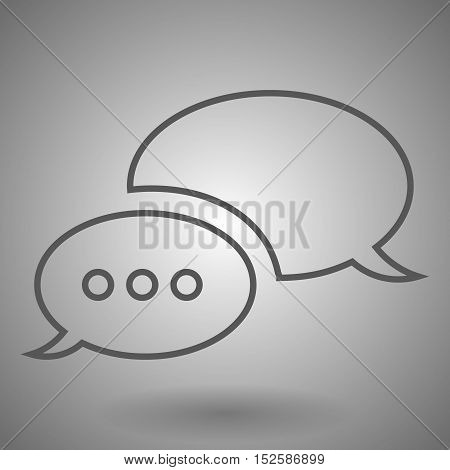 linear chat icon vector illustration on gray background.