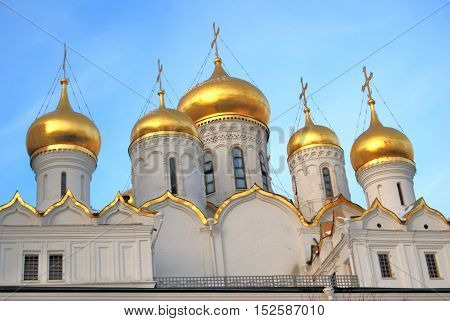Annunciation cathedral of Moscow Kremlin. UNESCO World Heritage Site. Color photo.