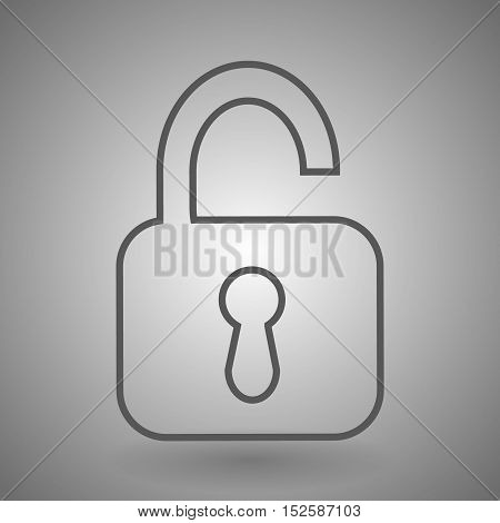 Open lock linear icon. Thick line illustration. Padlock. Unlock contour symbol. Vector isolated outline drawing.